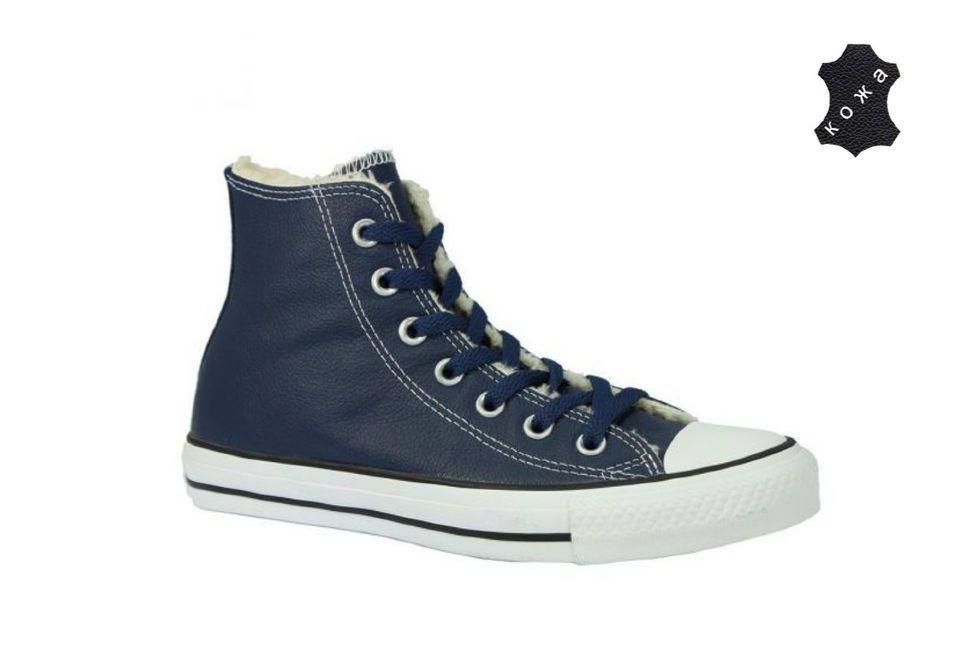 23b963d47fb1 Зимние Кожаные кеды Converse Chuck Taylor All Star 149465 тёмно-синие