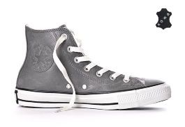 Зимние кожаные кеды Converse (конверс) Chuck Taylor All Star Shearling Hi Charcoal 132126 серые