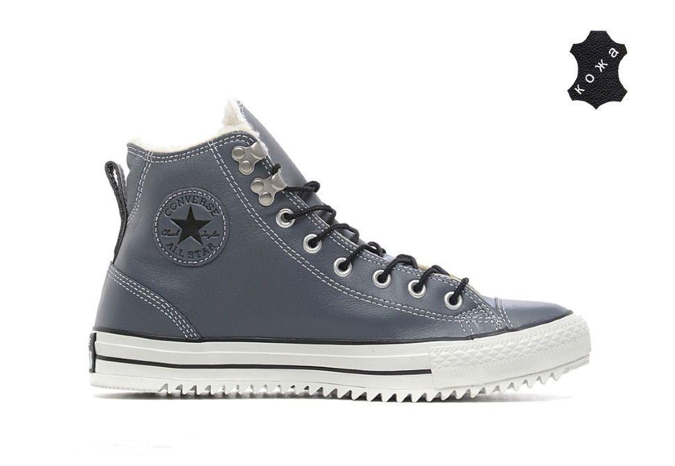 5912a16c7a1c Зимние кожаные кеды Converse (конверс) Chuck Taylor All Star 144732 серые