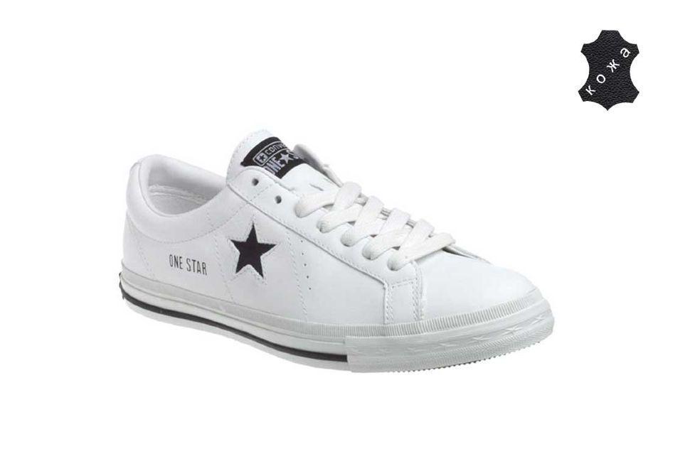 Кожаные кроссовки Converse (конверс) One Star 113583 белые купить по ... feebf133610