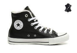 Зимние кожаные кеды Converse (конверс) Chuck Taylor All Star 144726 черные 6ca76f4b493