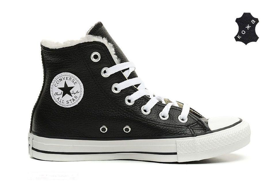 Зимние кожаные кеды Converse (конверс) Chuck Taylor All Star 144726 черные ac278e5c37cf6