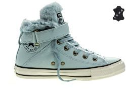 Кожаные кеды Converse Chuck Taylor All Star Brea Leather + Fur 553395 голубые