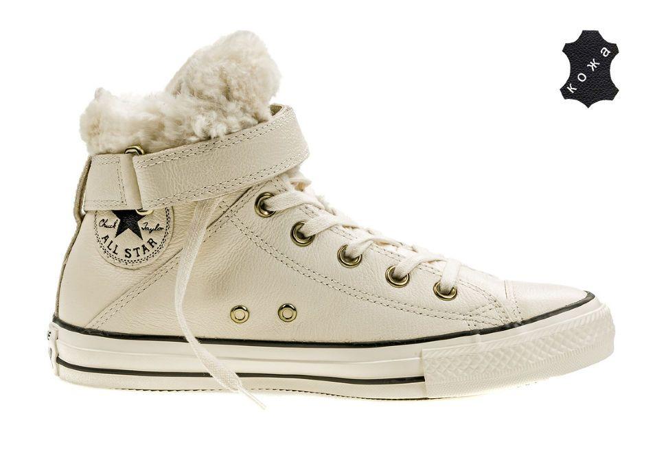 584295fa5fd1 Кожаные кеды Converse Chuck Taylor All Star Brea Leather + Fur 553396  бежевые