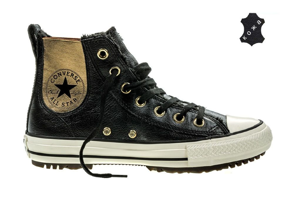 7600a97d8a9a Кожаные кеды Converse Chuck Taylor All Star Chelsea Boot Leather + Fur  553392 черные