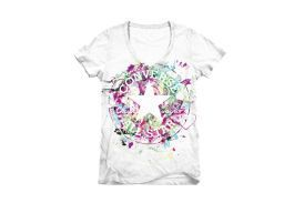 Женская футболка Converse (конверс) AWT STREAMING COLOR CHK PTCH SIG VNECK 10279C102 белая