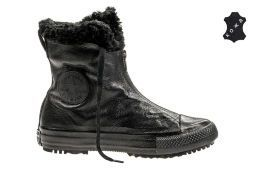 Кожаные кеды Converse Chuck Taylor All Star Hi-Rise Boot Shroud Leather + Fur 553350 черные