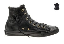 Кожаные кеды Converse Chuck Taylor All Star Winter Knit + Fur 553365 черные