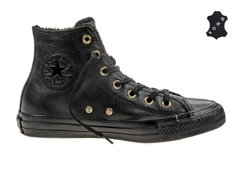 8aeb25e91ef4 Кожаные кеды Converse Chuck Taylor All Star Winter Knit + Fur 553365 черные