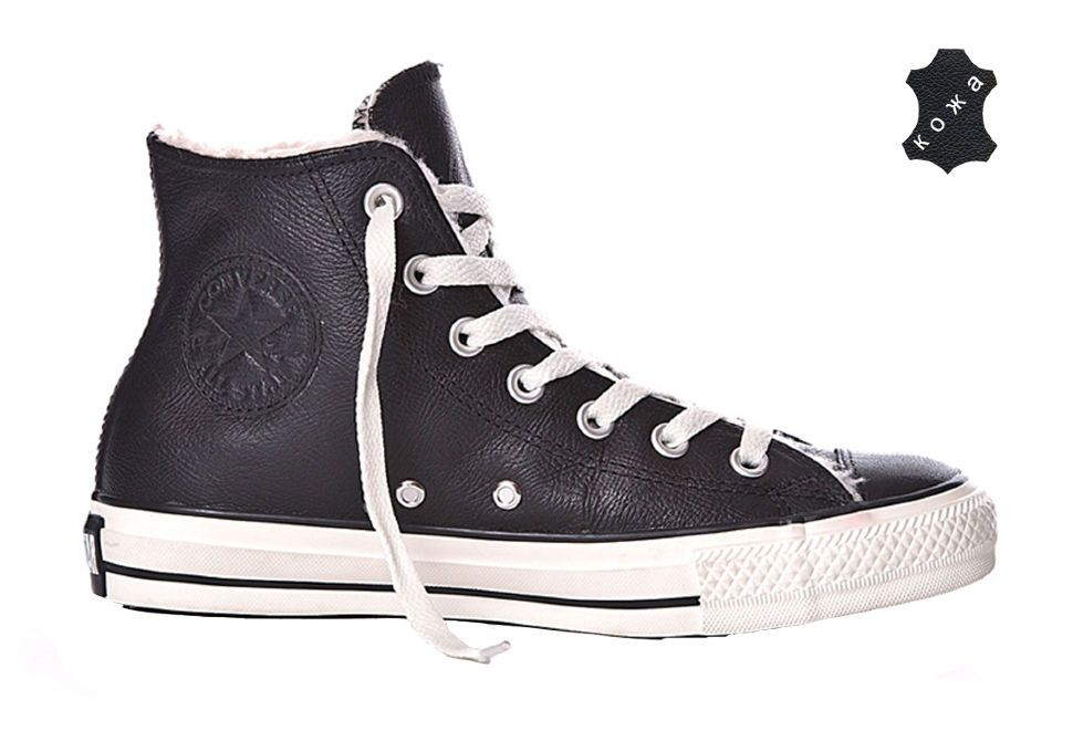 Зимние кожаные кеды Converse (конверс) Chuck Taylor All Star 132125 черные 5d83d58102f0e