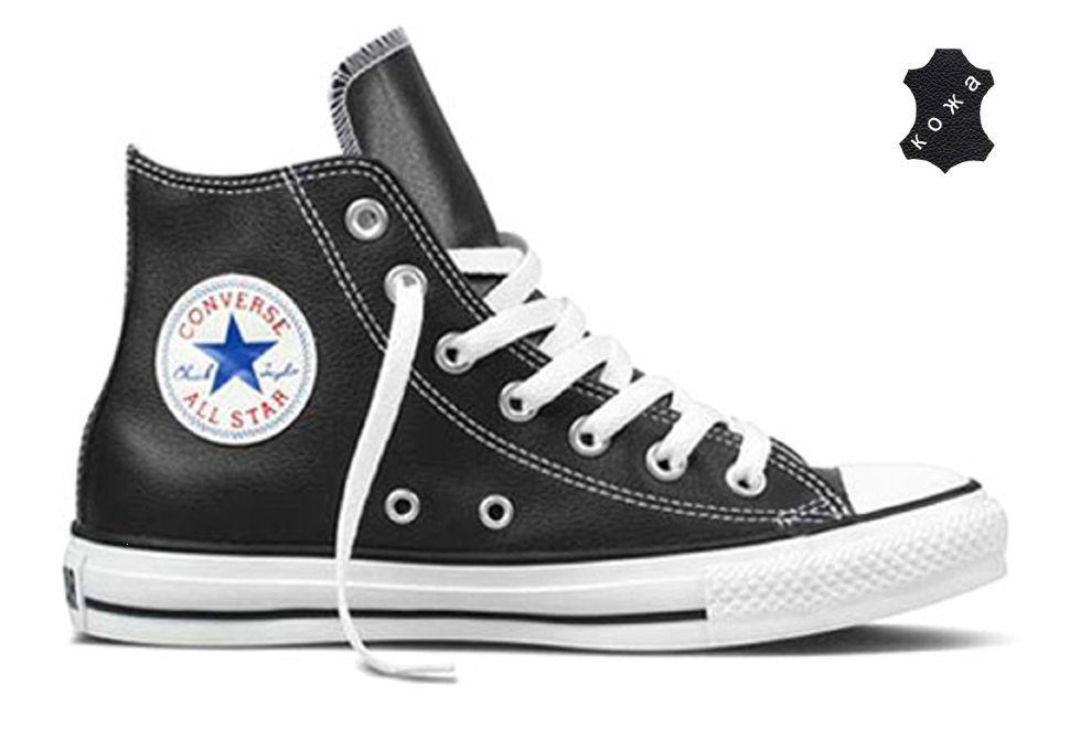b34f63a9 Кожаные кеды Converse (конверс) Chuck Taylor All Star 132170 черные ...