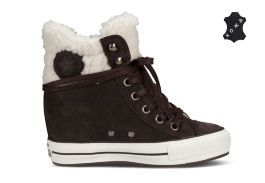 Кеды Converse (конверс) Chuck Taylor All Star Platform Plus Collar 545050 тёмно-коричневые